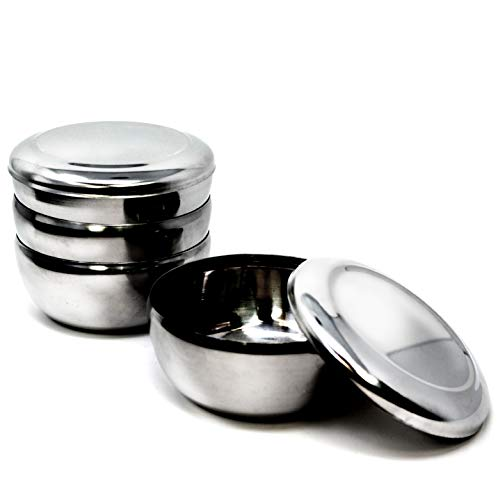 Eutuxia Korean Stainless Steel Rice Bowl + Lid, Set of 4. Traditional, Hygienic, Round & Unbreakable. Keep Rice or Soup Warm w/Metal Bowl. Perfect for Restaurants & Home. Made in Korea. 스텐밥공기