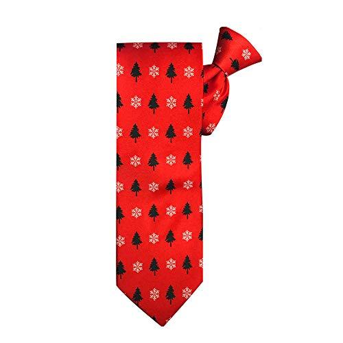 Jacob Alexander Men's Red Orange Christmas Trees Snowflakes Motif Clip-On Neck Tie
