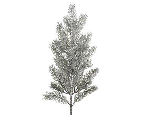 Christmas-Decorations Tannenzweig PE beschneit 52cm // Tanne Spritzguss grün Basteln Dekozweige künstliche Tannenzweige