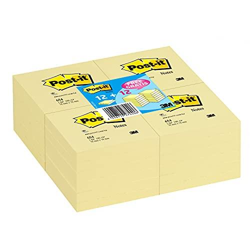 Post-It Haftnotizen Sparpack, 76x76mm, kanariengelb, 24 Blöcke zum Preis von 12