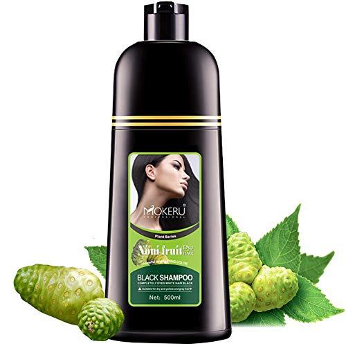 Mokeru Organic Natural Fast Hair Dye Only 5 Minutes Noni Plant Black Shampoo 500ml