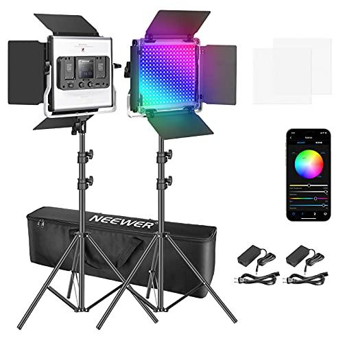 Neewer 2パック 530 RGB LEDライトキット APP制御 スタンドとバッグ付きの写真ビデオ照明キット 528個SMD LEDビーズ CRI 95/3200K-5600K/0-100%輝度/0-360調整可能な色/9つ該当シーン
