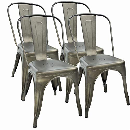 Metal Dining Chairs Set of 4 Indoor Outdoor Chairs Patio Chairs 18 Inch Seat Height Metal Restaurant Chair Stackable Chair 330LBS Weight Capacity Kitchen Chairs Tolix Side Bar Chairs