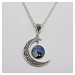 Charm Moon Glass Tile Necklace Wolf Necklace Moon Necklace Glass Tile Jewelry Animal Jewelry Moon Jewelry Wolf Jewe (2)