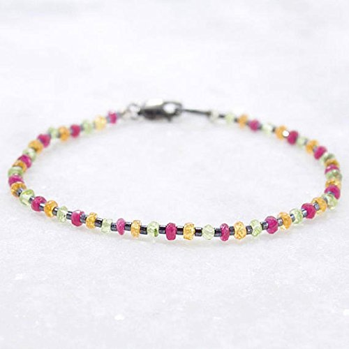 LOVEKUSH Pulsera de piedras preciosas múltiples, zafiro Padparadscha, zafiro rosa, peridoto, pulsera curativa de 2,5 mm Código WAR6531