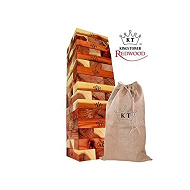 GLOconceptsUSA KINGS TOWER - New Rustic Black Limited Edition - Giant Block Stack & Tumble Game - Rustic Storage Bag - Protective Stain & Engraved