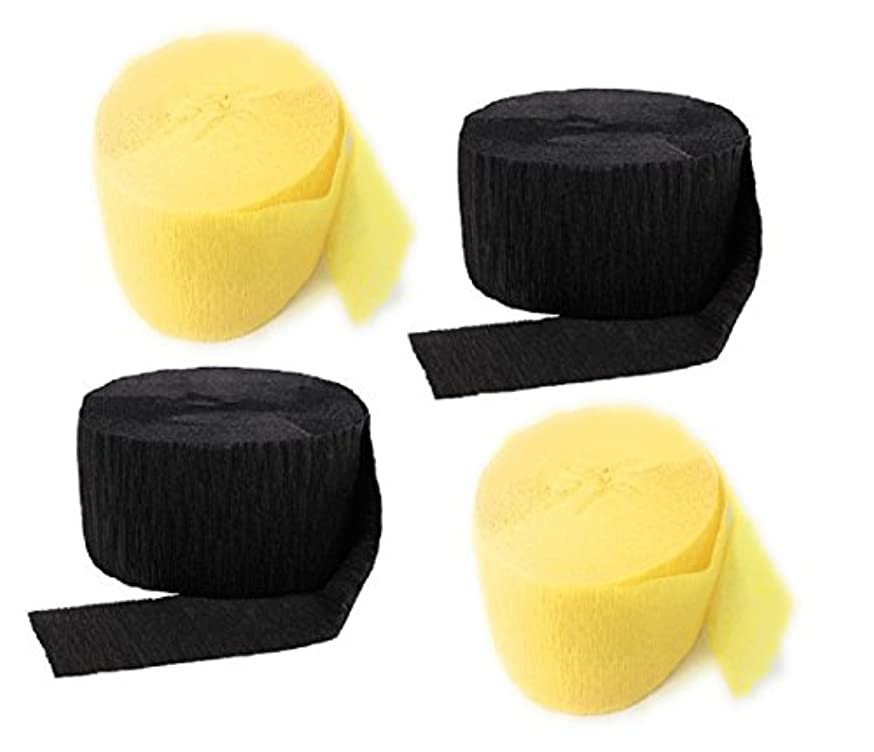 Crepe Paper Streamers for Birthday Party Wedding School Celebrations Decorations (Black and Yellow, 4 Rolls)