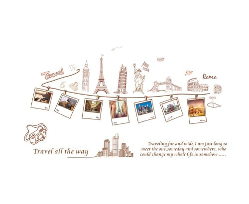 Instylewall Home Decoration Vinyl Wall Sticker Travel All the Way Happy Memories Pictures Room Decal Art Mural Paper by Instyledecal