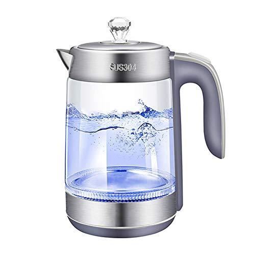 Chao Elektrische glazen ketel, 1,8 liter, BPA-vrij, met led-lamp, roestvrij stalen uiteinde, zelfsluiting, draagbaar, voor thee, havervlokken, koffie, deegwaren en meer