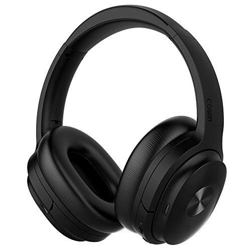 Cowin SE7 Active Noise Cancelling Bluetooth Kopfhörer Kabellos Kopfhörer Over Ear mit Mikrofon/Aptx, Bequeme Protein-Ohrpolster 50H Playtime, Faltbare Kopfhörer für Reisen/Arbeiten - (Schwarz)