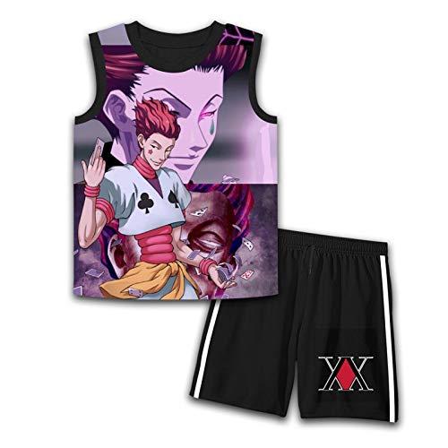 DIYOOD Anime Boy H-is-o-ka Youth Tank Top and Shorts Set 2 Piece Boys Girls Summer Sports Sleeveless Shirts Sets Medium Black