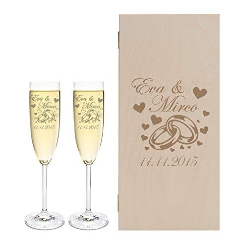 LEONARDO 2 Sektgläser mit Geschenkbox und Gravur Ringe Hochzeit Geschenkidee Sektglas-Set graviert