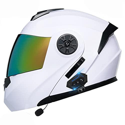 YALIXING Bluetooth Integrado Casco De Moto Modular con Doble Visera Cascos De Motocicleta ECE Homologado A Prueba De Viento para Adultos Hombres Mujeres (Color : 30, Size : X-Large 61-62CM)