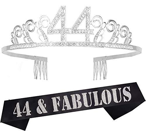 44th Birthday Gifts for Women, 44th Birthday Tiara and Sash silver, HAPPY 44th Birthday Party Supplies, 44 & Fabulous Glitter Satin Sash and Tiara Birthday Crown for 44th Birthday Party Supplies