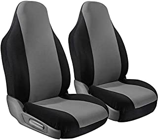 Motorup America Auto Seat Cover Set High Back Intergrated - Fits Select Vehicles Car Truck Van SUV - Gray & Black