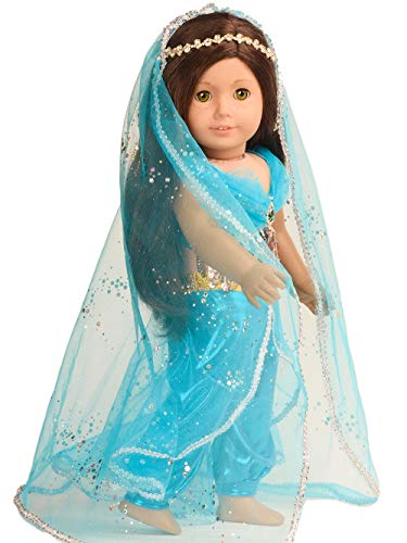 sweet dolly Doll Clothes Princess Jasmine Costume for 18 inch American Girl Doll