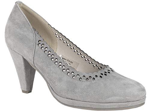 HIRSCHKOGEL Pumps Lina Stein | Trachtenpumps aus Leder | Absatzschuhe mit Bogenkante | Lochmuster Tracht Dirndl-Schuhe grau (Numeric_41)