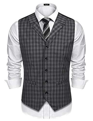 COOFANDY Men's Business Suit Vest,Slim Fit Skinny Wedding Waistcoat (X-Large, Light Grey)
