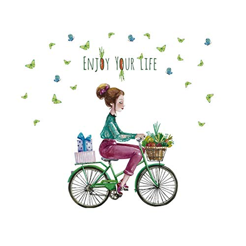 CVG Dibujos Animados Chica Pegatinas de Pared PVC DIY Mariposa Bicicleta Mural Pegatina para Habitaciones de niños decoración de Dormitorio de bebé Dropshipping