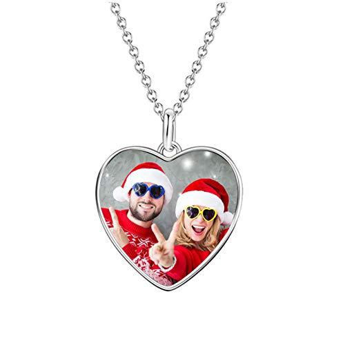 Collar de foto personalizado Collar de texto personalizado Collar en forma de corazón Etiqueta de...