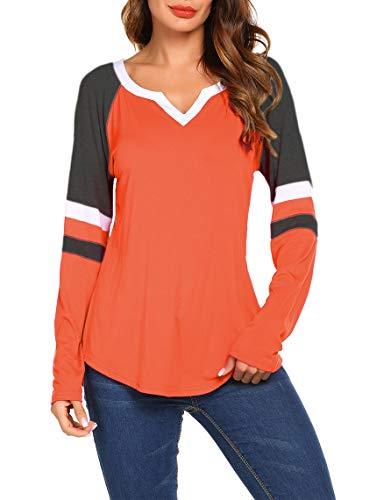 Sweetnight Women's Long Sleeve Casual Loose Tunic Shirts Henley V Neck Blouse Tops Orange XX-Large