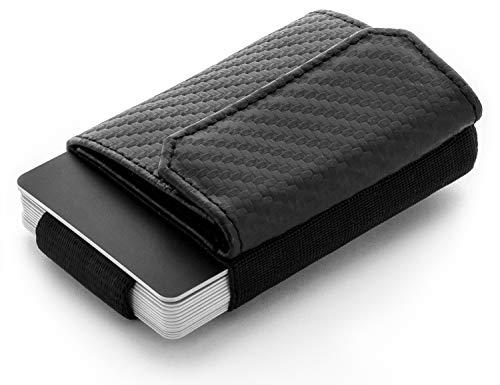 JAIMIE JACOBS Minimalist Wallet Nano Boy Pocket Mini Geldbörse aus Textil mit Zugband schmaler Kartenhalter für Herren und Damen (Carbon)