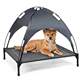 Giantex Elevated Dog Bed with Removable Canopy, Portable Raised Pet Cot Cooling Dog Bed for Camping Beach Lawn, Keep Dogs Cats Cool in Summer, Breathable Fabric Steel Frame, Easy Assembly