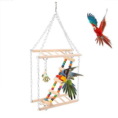 Salinr 噛む玩具 インコ 鳥 オウム 吊下げタイプ玩具 鈴 かわいい 鳥 オウム 止まり木 セキセイ はしご アスレチック 木製 玩具 ケージ オウム用 階段 吊下げタイプ玩具 ストレス解消 ペット用品