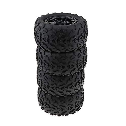 P Prettyia 4X 160 mm Neumáticos de Caucho Negro Neumáticos Llanta de Rueda de Metal 17 Mm para 1/8 Trx4 RC Bigfoot Car