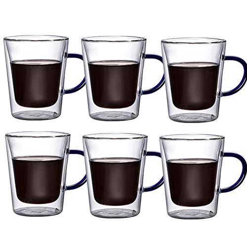 DC CLOUD Gläser Mit Henkel Doppelwandige Teegläser Thermogläser Cappuccino Tassen Kaffeetassen Set Sicheres Material Modern Und Zeitloses Design Perfekt Für Zu Hause Restaurants Und Partys Blue,6cups