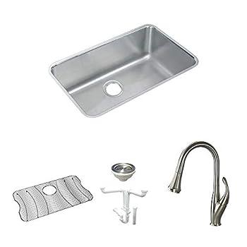 Elkay KF-ELUH281610 Stainless Steel Single Bowl Undermount Kitchen Sink Kit Lustrous Highlighted Satin