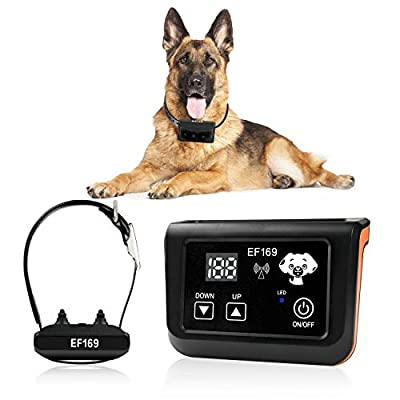 Wireless Dog Fence, Pet Containment System, Pets Dog Containment System Boundary Container with IP65 Waterproof Dog Training Collar Receiver, Adjustable Range, Harmless for All Dogs.Black