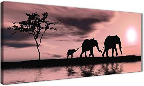 XQBHH Cuadro de decoración para el hogar, rubor rosa africano puesta de sol elefantes lienzo arte de pared, 120 cm x 50 cm