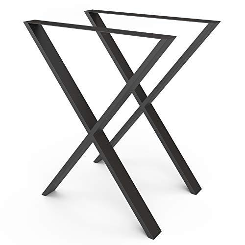 sossai® Design Gambe per tavolo in acciaio | Forma X | TKX1 | colore: nero | Set di 2 | struttura tavolo | larghezza 60 cm x altezza 72 cm | Profilo: 60 x 20 mm