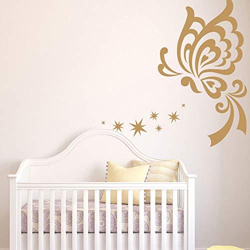 Vlinder, sterren, vinyl, wandstickers, kinderen, diermotief, zelfklevend, verkrijgbaar in verschillende maten, 50 x 50 cm