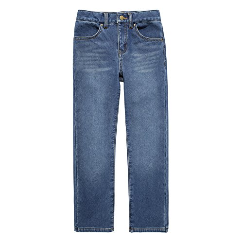 UNACOO Girls Warm and Soft Plus Velvet Jeans with Stretch Straight Leg (Light Blue, XXL(13-14T))
