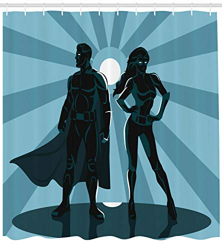 Dor675ser Duschvorhang, 182,9 x 182,9 cm, Superhelden-Duschvorhang, Unisex, Kostüm-Umhang Druck für Badezimmer