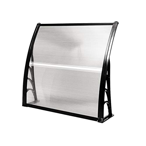 """Tangkula 40"""" X 40"""" Outdoor Window Awning with Polycarbonate Hollow Sheet, Modern Door Canopy for Patio Balcony, UV Rain Snow Sunlight Protection (Black)"""