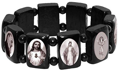 Catholic Saint Icons Wooden Bracelet, Black and White Elastic Religious Bangles by Catholica Shop