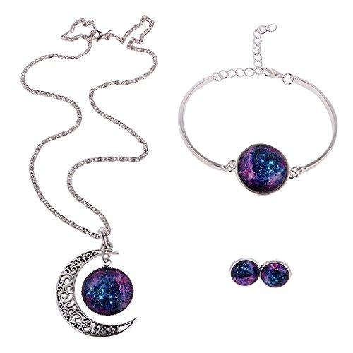Gazechimp Elegant Mystische Galaxie Stil Schmuck Set ink. Halskette, Armkette,Ohrringe - Damen Mode Schmuck - Set # 3