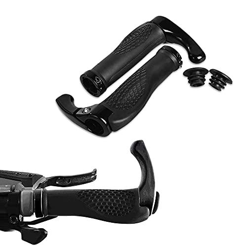 Delmkin Fahrradgriffe, Ergonomische Lenkergriffe mit Hörner, rutschfest Fahrradlenkergriffe für Trekkingrad, Mountainbike, E-Bike (Schwarz)