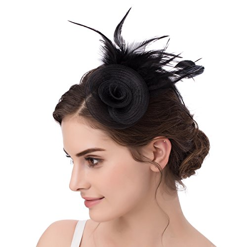Abaowedding Feather Fascinator Cocktail Party Hair Clip Pillbox Hat D Black TS007