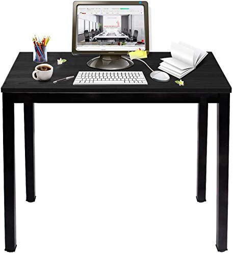 SogesHome Computer Desk 80 x 40 cm Compact Table PC Desk Office Desk Corner Desk Wood Desk for Home Working, Study, Writing,Black, AC3CB-8040-SH