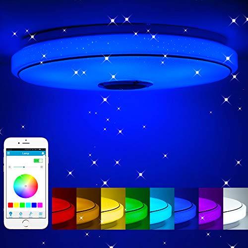 Nexmon Luz de techo LED inteligente, luces de techo LED de música RGB regulables con control remoto de la aplicación, luz Bluetooth moderna, lámparas de dormitorio, lámpara de techo