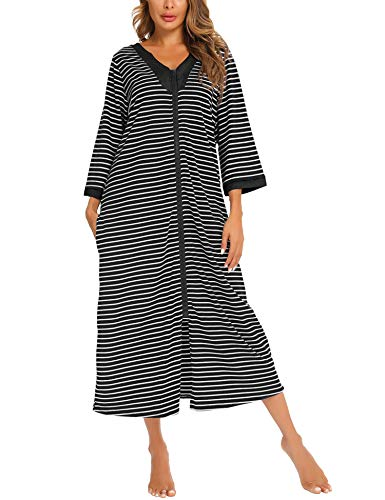 MiiKARE Brumoco Nightgowns for Women 3/4 Sleeve Zipper Robe Pajamas Full Length Duster Housecoat V Neck Long Bathrobes Loungewear with Pockets Black White Stripe-Large