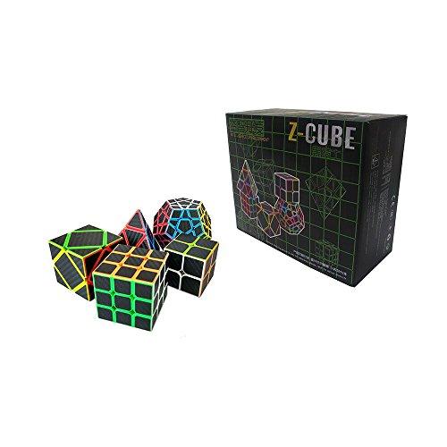 Wings of Wind - Etiqueta de la Fibra del carbón Cubo mágico Juego del Rompecabezas de Pyraminx, Megaminx, Skewb, 2x2, Cubo 3x3 - Paquete 5