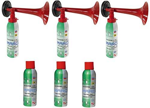 Marco 3 Druckluftfanfaren 3 Nachfüllflaschen-kein billiges China Produkt-Hupe Fanfare Tröte Drucklufthupe EU Gesetz komform sehr Umweltfreundlich