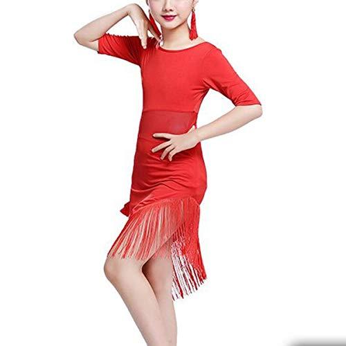 IEFIEL Vestido de Baile Latino para Niñas Traje de Latin Sevillana Tango Profesional Dsifraz Bailarina Vestido Empalme Flecos de Flamenca Rumba Rojo 12-14 años