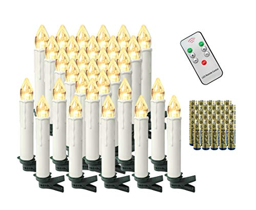 Aufun 30 Stück LED Weihnachtskerze Warmweiß Weinachten, Mini Kabellose Christbaumkerzen Flammenlose mit Fernbedienung Timer und Batterien IP44 für Weihnachtsbaum, Hochzeit, Partys