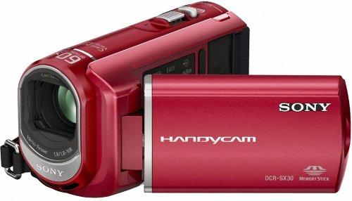 Sony dcrsx30er Handycam Camcorder mit 4GB Interner Speicher (2H 55Minuten)–Rot